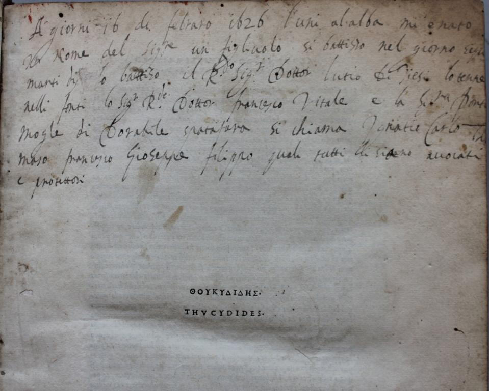 Thucydides 1502 no.1 annotation